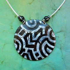 Washer Necklace, Enamel, Copper, Jewelry, Needlepoint, Vitreous Enamel, Jewlery, Jewerly, Schmuck