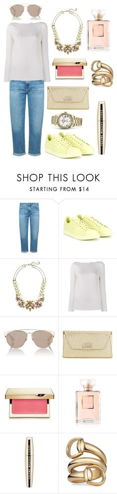 """""""Neon spots"""" by theodor44444 ❤ liked on Polyvore featuring AG Adriano Goldschmied, adidas, BaubleBar, Valentino, Christian Dior, Christian Louboutin, Clarins, Chanel, L'Oréal Paris and Gucci"""
