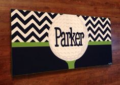 golf nursery theme   Golf Wall Art Print - Chevron Gray Navy Blue Nursery Preppy Art - Golf ...
