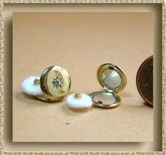 Ladies Powder Compact with a rhinestone, L x L Miniatures, so pretty