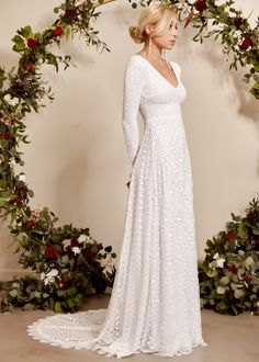 The classic A line dress is one of the bridal gown. Of all the bridal gown on the marketplace today A line wedding event gowns are the finest. Indie Wedding Dress, Open Back Wedding Dress, Bohemian Wedding Dresses, Wedding Dress Sleeves, Long Sleeve Wedding, Princess Wedding Dresses, Bridal Gowns, Wedding Gowns, Lace Wedding