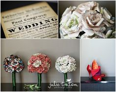 LOVES origami/paper flowers. Also, the link to this couples wedding had so many cool ideas - lego pieces around centerpieces, polaroid hanging guest book, gorgeous dress...