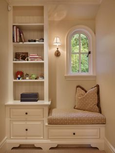 Turn a weird stair landing into a fun reading nook. If it's a bedroom alcove could also be a desk or vanity area.