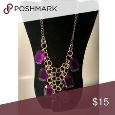 PURPLE NECKLACE Gold chain link. Purple oversized stone detail. Jewelry Necklaces
