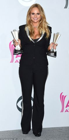 Big night: Miranda Lambert won Female Vocalist Of The Year at the Country Music Awards Sunday night. Her The Weight Of These Wings was also named as Album Of The Year