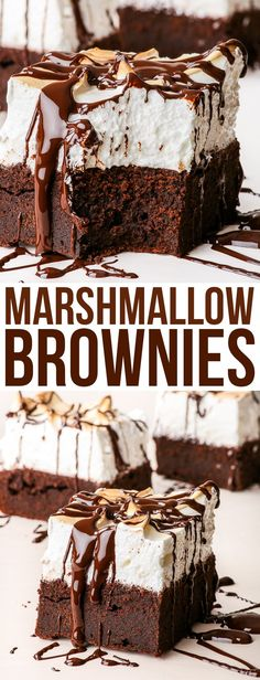 Sky High Marshmallow Brownies {gluten, nut & soy free, dairy free option} - You will love these marshmallow brownies. There's no question about it. How could you not love a gluten free dessert that combines two of the best things ever – a fudgy, dense, chocolatey gluten free brownie and the fluffiest marshmallow meringue frosting you could possibly imagine. Gluten free brownies. Gluten free recipe. Easy recipes. Dessert recipes. #glutenfree #marshmallow #dessert #brownie #recipe #food