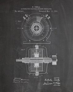 This is a print of an 1891 Nikola Tesla Generator patent, presented as a vintage industrial or steampunk style drawing. Authentic historical patent prints celebrate industrial design and invention as