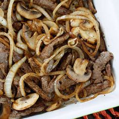 Steak with Mushrooms and Onions. Quick Skillet Steak with Mushrooms and Onions- perfect on its own but can also be transformed into a delicious steak sandwich. Caramelized Onions And Mushrooms, Steak And Mushrooms, Stuffed Mushrooms, Stuffed Peppers, Wild Mushrooms, Thin Steak Recipes, Beef Recipes, Cooking Recipes, Amor