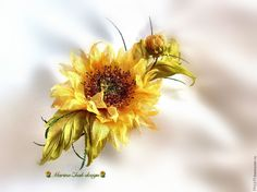 """Купить Подсолнух из шелка - """" Луч солнца золотой""""( бронь) - подсолнух, золотой цвет"""