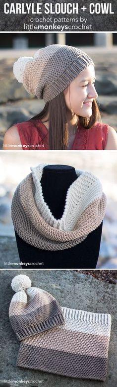 Carlyle Cowl + Slouch Hat Crochet Pattern Set   Free cowl scarf slouchy hat crochet patterns by Little Monkeys Crochet