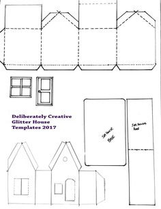 New Patterns and Templates for Deliberately Creative Videos – Deliberately Creative House Template, Star Template, Butterfly Template, Templates, Free Doodles, Cat Stretching, Free Printable Gift Tags, Putz Houses, House Ornaments