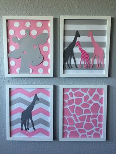 This set of 4- 8x10 framed art pieces is handcrafted, hand cut and original. They feature modern and bold patterns such as chevron and polka dots with giraffe silhouettes over them. They add the perfect modern touch to any nursery or kids room with a bold pop of color and fun eye-catching designs. This item can also be personalized with a name or initials. The set comes in classic white frames with a glass front. (The glass was removed for some photos to help reduce glare.) Looking for this…