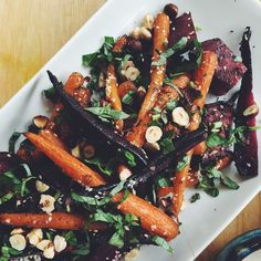 Roasted Carrot and Beetroot Salad with Tahini Dressing