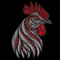 Vector fiery rooster on a black background — Stock Illustration Rooster Vector, Rooster Logo, Rooster Art, Rooster Images, Chicken Tattoo, Chicken Art, Illustration Vector, Vector Art, Hahn Tattoo