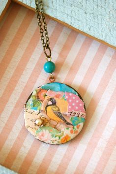 Summer bird. Shabby chic, collage locket necklace. Tiedupmemories