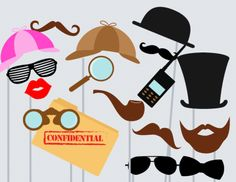 Detective Photo booth Props, Baby Shower Photo booth Props, Wedding photo booth…