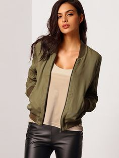 Online shopping for Olive Round Neck Bomber Jacket from a great selection of women's fashion clothing & more at MakeMeChic.COM.