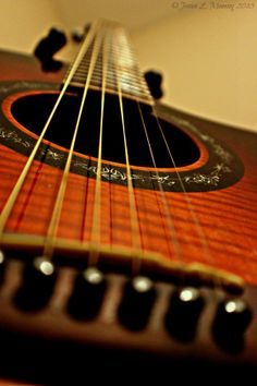 Guitar strings macro photography