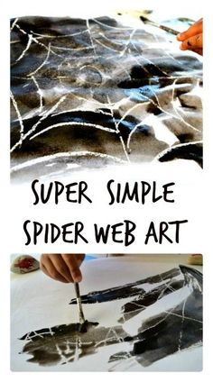 Halloween Art Project for Kids : Such an easy way to create spider web art