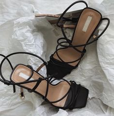 Jul 2019 - Strappy sandals are the ones to have this Hitting the fashion world by storm, it's perfect for that summer outfit you have been dreaming about. Wear it with a floral midi dress and a mini bag or you can… Heeled Boots, Shoe Boots, Shoes Heels, Strappy Sandals Heels, Black Strappy Heels, Black High Heels, Strap Heels, Ankle Strap, Cute Shoes