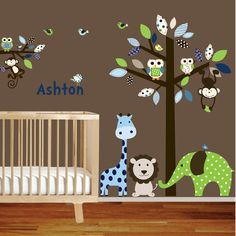 Giraffe,elephant,monkey nursery wall decal sticker vinyl tree and branch jungle decals $165