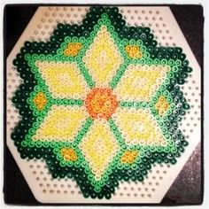 Hama Bead Daffodil pattern for St David's Day and for Freddie, the #DaffodilBoy
