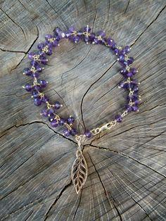 Amethyst Leaf Charm Bracelet