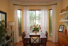 Refined House Bay Window Curtain Rods getting Your own home Cooler House Design, Window Curtain Rods, Home, Custom Window Treatments, Dining Room Windows, Bay Window Treatments, Beautiful Curtains, Bay Window Curtains, Curtain Designs