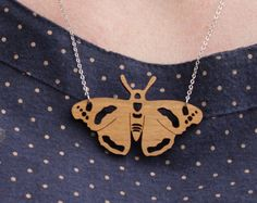 Laser cut Butterfly Necklace - Red Admiral