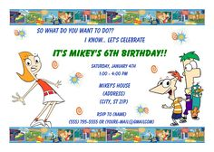 phineas & ferb  Birthday Invitation. Click on the image twice to place orders or follow me on facebook. or email me at the address in BIO.