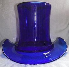 A Must Have for your Glass Hat Collection, GIANT Free Blown Cobalt Blue Glass Top Hat, aka the Wine Cooler Size ! Cobalt Glass, Turquoise Glass, Cobalt Blue, Amber Glass, Blue And White China, Love Blue, Blue Green, Blenko Glass, Dining Room Blue