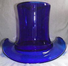 GIANT Cobalt Blue Blown Glass 10 inch Top Hat  !!!