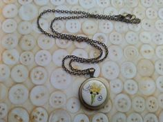 daffodil flower layered handmade button necklace by maxollieandme, £7.00