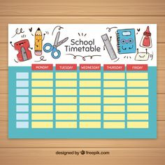 School timetable template with school elements Free Vector