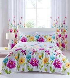 Duvet Cover Bedding Sets OR Matching Curtains Catherine Lansfield Floral Bloom CatherinLansfield Contemporary