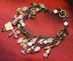 Wistful Butterfly Cha Cha Charm Bracelet in Pink Cotton Candy OOAK One-of-a-kind (7.5 inches)