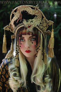 Fantasy Antique metallic Embroidered Dragon Queen Golden goddess Tassels beads Headpiece Headdress Crown Belly dance Cleopatra Chinese Asian...