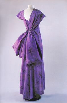 Circa 1947 Schiaparelli silk evening dress purple evening gown large bow back bustle late 40s vintage fashion couture