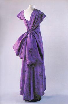 Circa 1947 Schiaparelli silk evening dress purple evening gown large bow back bustle late 40s vintage fashion couture