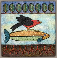 Fiber Artist Renee Harris...textures and a mixture of paper, cloth& stitches a-ride-through-the-red-wood-1.jpg (391×396)