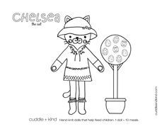 cuddle+kind chelsea the cat colouring sheet. www.cuddleandkind.com Cute Kids Crafts, Toddler Crafts, Easter Crafts, Coloring For Kids, Coloring Pages For Kids, Printable Coloring Sheets, Knitted Dolls, Colorful Pictures, Cuddling