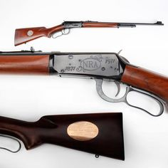 NRA Winchester Model 1894 rifle - In 1971 the NRA celebrated its Centennial. More than 40,000 NRA commemorative muskets and rifles were produced by Winchester in 1971, and this one was presented at the Annual Meetings in D.C. to past Pres. Woodson D. Scott. This lever-action Winchester Model 1894 .30-30 rifle had the standard NRA silver medallion on one side of its stock and a golden presentation plate fitted on the other side.Find our speedloader now!  http://www.amazon.com/shops/raeind