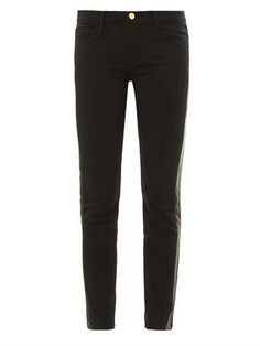 Le Luxe leather tux stripe mid-rise skinny jeans   Frame Denim...