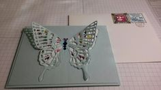 Stampin' UP Butterfly thinlit on Soft Sky CS with Painted Bloom DSP. Simple, easy, & beautiful card by Q2uniquedesigns.