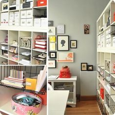 Craft Room Idea: Expedit shelves with underhanging baskets for extra spaces, 22 Tips to organize your craft room