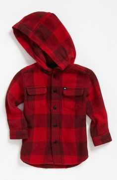 Quiksilver 'Panda Luck' Hooded Shirt (Baby Boys) | Nordstrom. I love flannel and I love hoods this is perfect for Fall