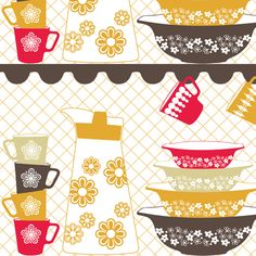 I have always loved those vintage Pyrex dishes, bowls and mugs so this retro-kitchen contest was the perfect opportunity to work on a Pyrex inspired design. This is my humble attempt to pay a tribute... Why did Pyrex ever stopped making those?