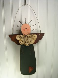 Primitive Wooden Garden Angel with Rusty Tin by TheCountryTouch, $15.00