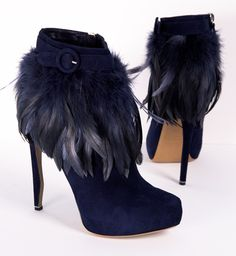 Navy Suede Feather Bootie <3