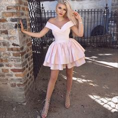A-Line Off-the-Shoulder Short Pink Homecoming Dress